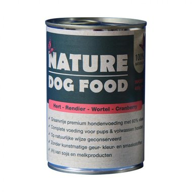 NATURE DOGFOOD | Hert, Rendier, Wortel & Cranberry | 400 gr