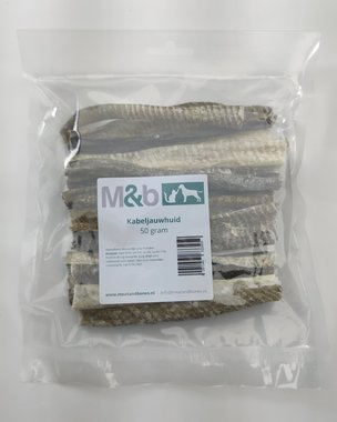 M&B | Kabeljauwhuid max 15 cm | 50 gram