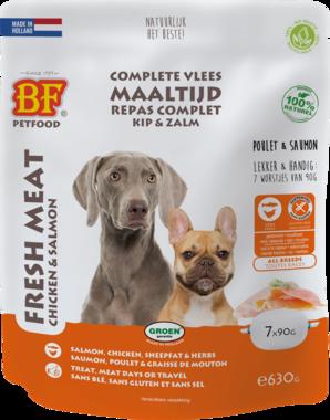 BIOFOOD | Vleesvoeding compleet ZALM / KIP | (7 x 90 gram)