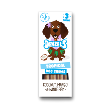 DENZEL'S CHEWS | Dental TROPICAL - kokos, mango, witvis | 3 stuks