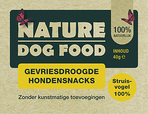 NATURE DOGFOOD | gevriesdroogd 100% STRUISVOGEL | 40 gr