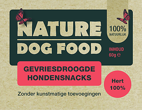 NATURE DOGFOOD | gevriesdroogd 100% HERT | 60 gr